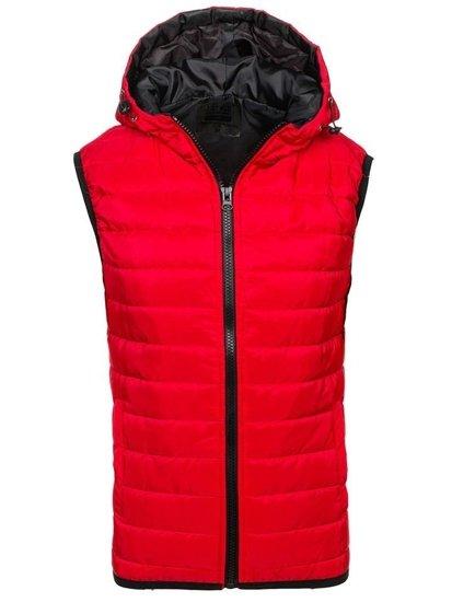 Červená pánska vesta s kapucňou BOLF AK88
