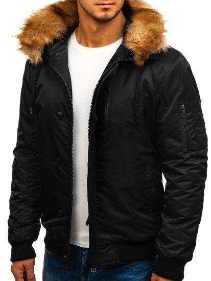 Čierna pánska zimná bunda BOLF 1826
