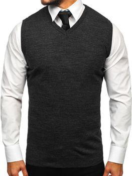 Antracitová pánska pletená vesta Bolf 2500