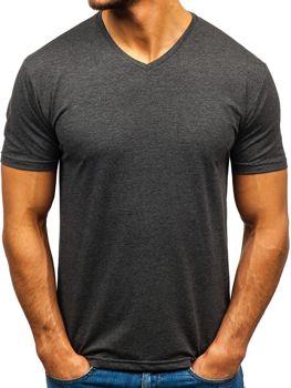 Antracitové pánske tričko s výstrihom do V bez potlače BOLF 172010-A