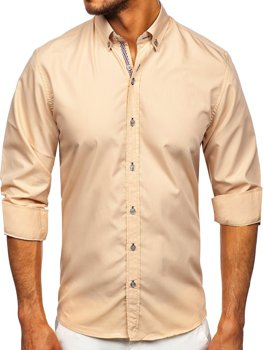 Béžová pánska košeľa s dlhými rukávmi Bolf 20718