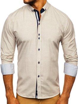 Béžová pánska vzorovaná košeľa s dlhými rukávmi Bolf 9710