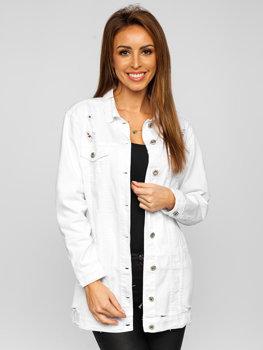 Biela dámska dlhá riflová bunda Bolf WL1743-10