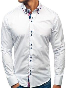 Biela pánska elegantá košeľa s dlhými rukávmi BOLF 2712