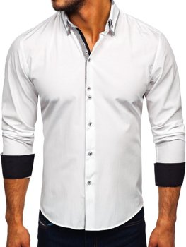 7ee498a4a9 Biela pánska elegantá košeľa s dlhými rukávmi BOLF 6929-A