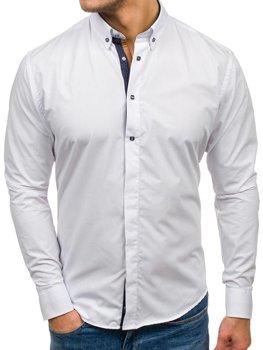 Biela pánska elegantá košeľa s dlhými rukávmi BOLF 7727