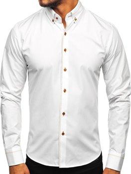 Biela pánska elegantná košeľa s dlhými rukávmi Bolf 6964