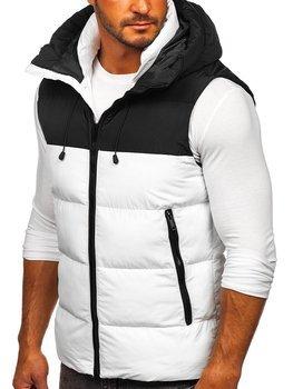 Biela pánska prešívaná vesta s kapucňou Bolf1189