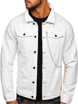 Biela pánska rifľová bunda 3-4