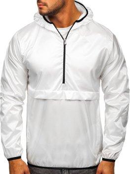 Biela pánska športová prechodná bunda s kapucňou Bolf 5061