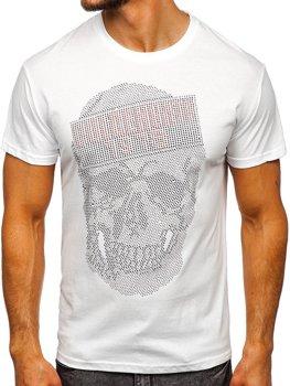 Biele pánske tričko s potlačou Bolf KS2108