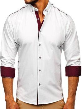 Bielo-bordová pánska elegantná košeľa s dlhými rukávmi BOLF 5722-1