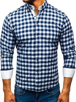75b9231ee3d0 Bielo-tmavomodrá pánska károvaná košeľa s dlhými rukávmi BOLF 5816-A