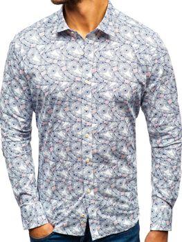 Bielo-tmavomodrá pánska vzorovaná košeľa s dlhými rukávmi BOLF 301G86