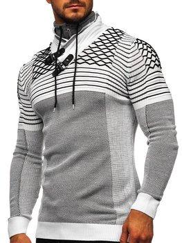 Biely hrubý pánsky sveter so stojačikovým golierom Bolf 1067