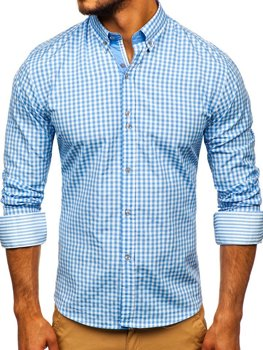 Blankytná pánska károvaná košeľa s dlhými rukávmi Bolf 9712