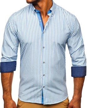 Blankytná pánska prúžkovaná košeľa s dlhými rukávmi Bolf Bolf 20704