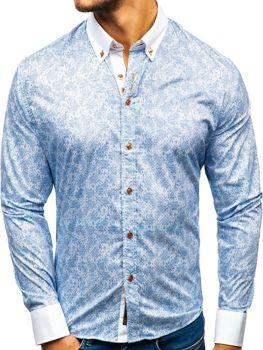 9f6315f2dd3f Blankytná pánska vzorovaná košeľa s dlhými rukávmi BOLF 8842