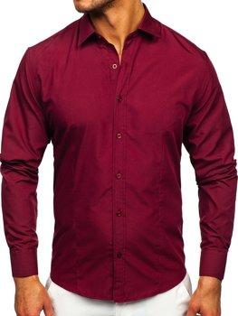 Bordová pánska elegantá košeľa s dlhými rukávmi BOLF 1703