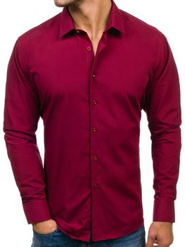 43ddca8d26db Bordová pánska elegantá košeľa s dlhými rukávmi BOLF TS100