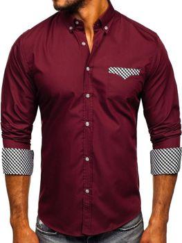 Bordová pánska elegantná košeľa s dlhými rukávmi BOLF 4711