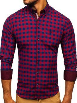 983ff8f1c6 Bordová pánska károvaná košeľa s dlhými rukávmi BOLF 4701