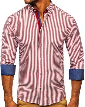 Bordová pánska prúžkovaná košeľa s dlhými rukávmi Bolf Bolf 20704