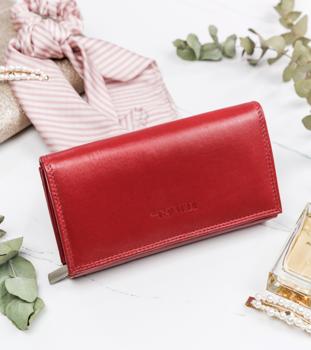 Červená dámska kožená peňaženka 2415