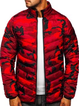 Červená maskáčová pánska športová prešívaná zimná bunda Bolf SM32