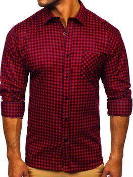 Červená pánska flanelová košeľa s dlhými rukávmi Bolf F8