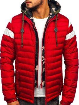 Červená pánska prešívaná športová prechodná bunda Bolf 50A462