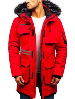 Červená pánska zimná bunda BOLF 201802