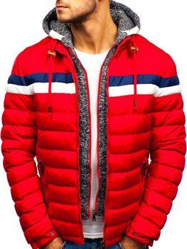 Červená pánska zimná bunda BOLF A181