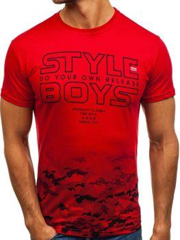 Červené pánske tričko s potlačou BOLF 0010