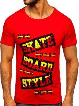 Červené pánske tričko s potlačou Bolf KS2019