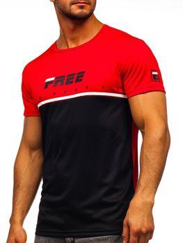 Červené pánske tričko s potlačou Bolf  SS10996
