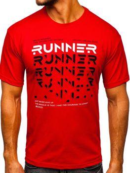 Červené pánske tričko s potlačou Bolf14336