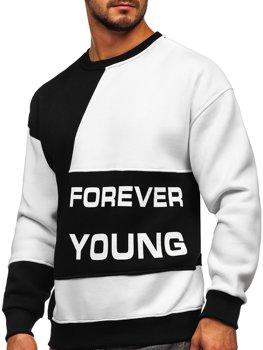 Čierna/biela pánska mikina bez kapucne s potlačou Forever Young Bolf 0003