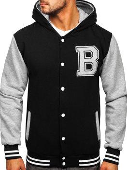 Čierna pánska baseballová mikina/bunda s kapucňou a potlačou Bolf 07