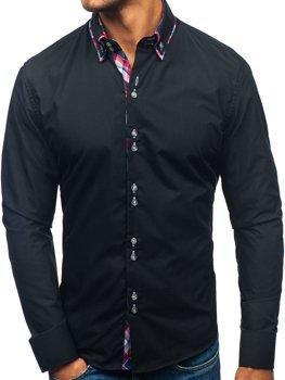Čierna pánska elegantá košeľa s dlhými rukávmi BOLF 2712