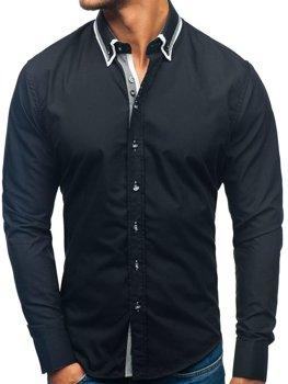 Čierna pánska elegantá košeľa s dlhými rukávmi BOLF 3704-1