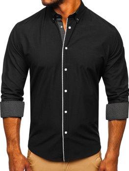 Čierna pánska elegantá košeľa s dlhými rukávmi BOLF 7724