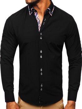 Čierna pánska elegantná košeľa s dlhými rukávmi BOLF 4704