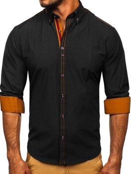 Čierna pánska elegantná košeľa s dlhými rukávmi BOLF 4707
