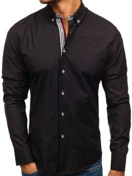 Čierna pánska elegantná košeľa s dlhými rukávmi BOLF 6943