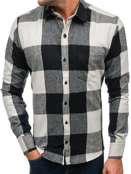 Čierna pánska flanelová košeľa s dlhými rukávmi BOLF 801
