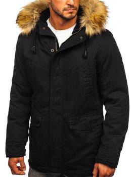 Čierna pánska jarno-zimná bunda parka 2v1 Bolf 5284