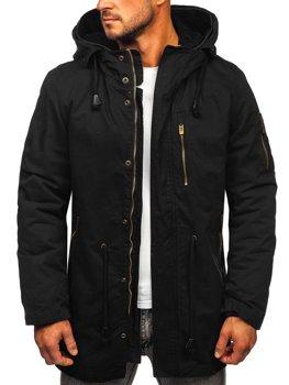 Čierna pánska jarno-zimná bunda parka 2v1 s odnímateľnou podšívkou Bolf 5283
