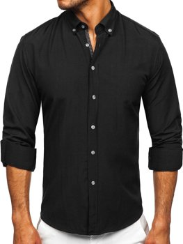 Čierna pánska košeľa s dlhými rukávmi Bolf 20716