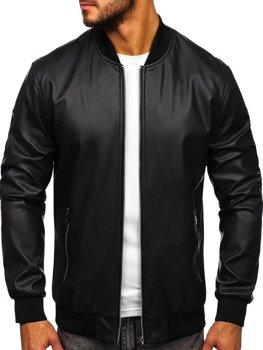 Čierna pánska koženková bunda Bolf 6121
